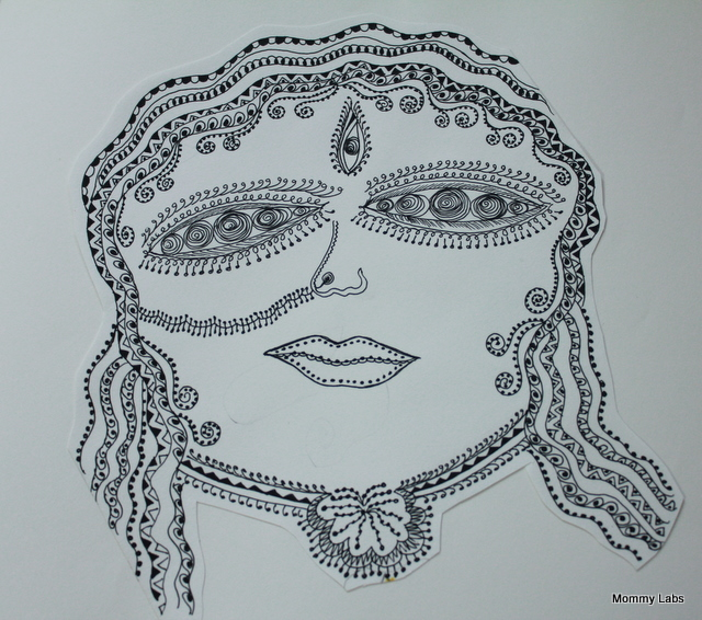 zentangle durga goddess art india