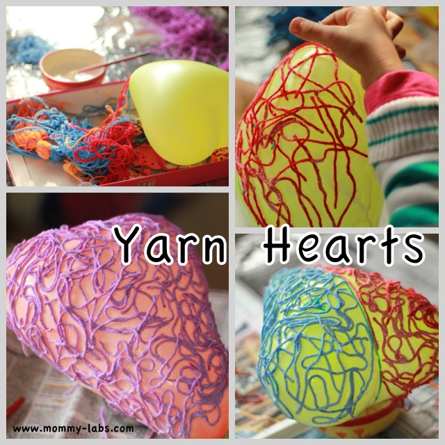 yarn wool heart with white glue using heart shaped balloon