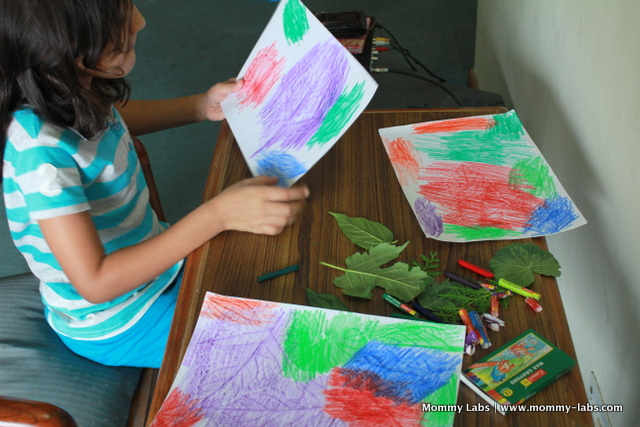 colorful leaf crayon art rubbings