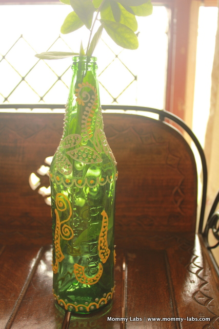 painted glass bottle vase