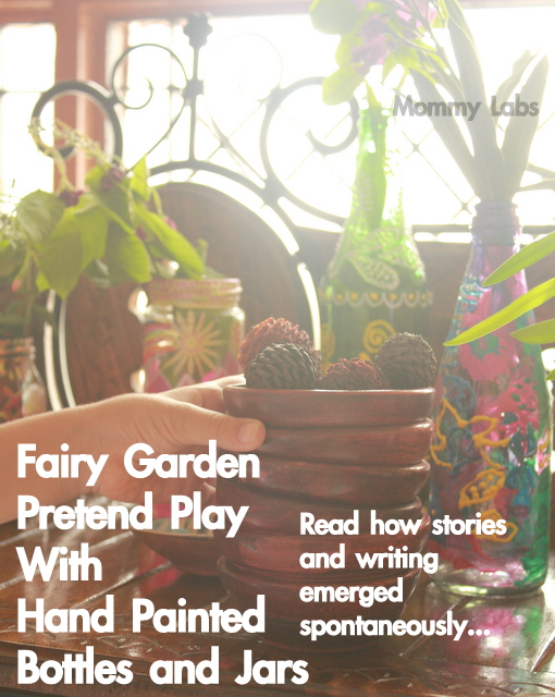 fairy garden pretend play kids hand painted bottles and jars