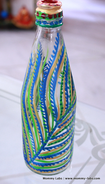 hand painted glass bottle peacock theme india national bird