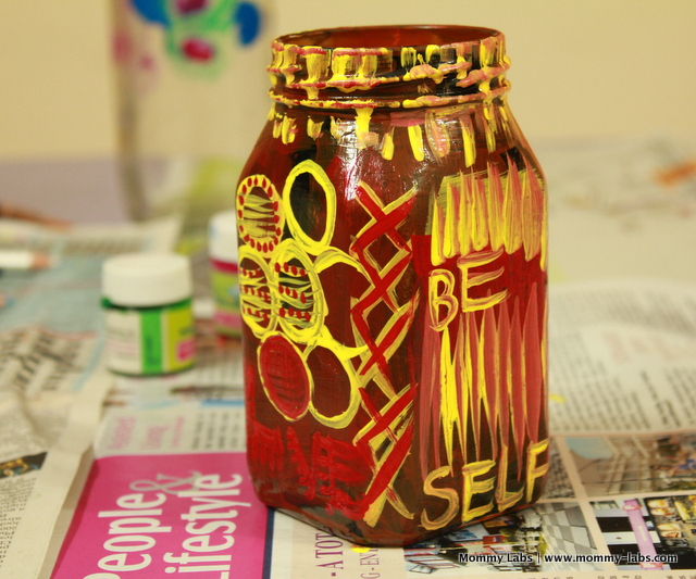hand painted glass jars