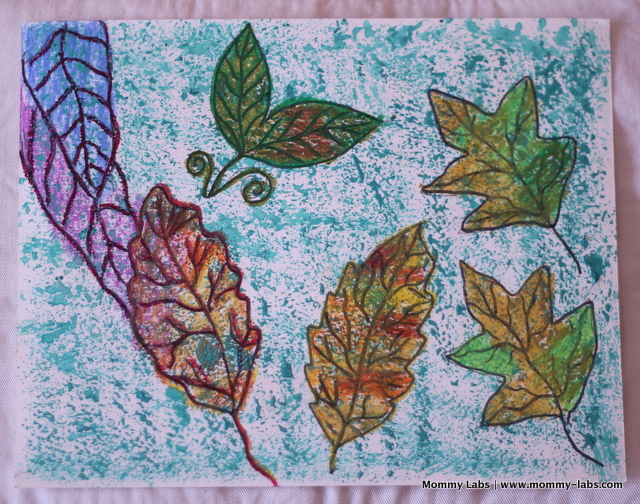 fall leaves painting with oil pastels and acrylic