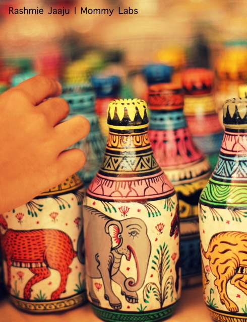 handpainted bottles Dastkar