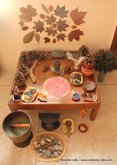Winter Nature Table for Diwali