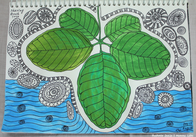 earth water leaves zentangle watercolor