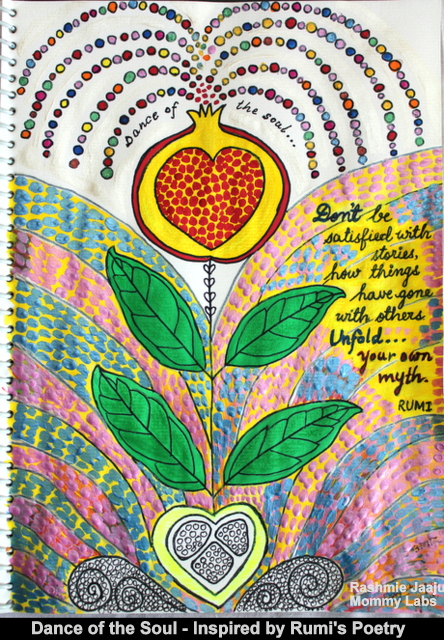 Poetry Art Journaling Rumi Sufi Soulful Leaf Pomegranate
