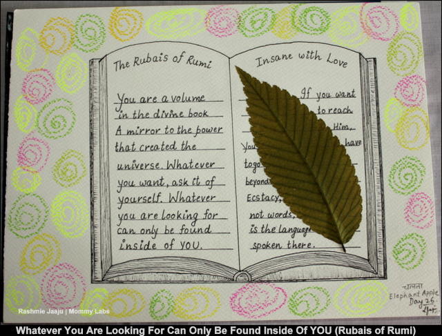 Rumi Poetry Art Leaf Journaling