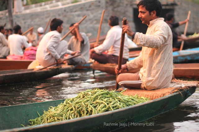 flating vegetable market on Dal lake Kashmir