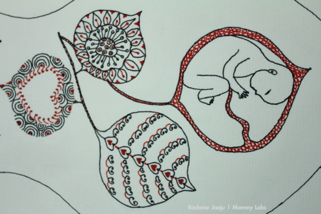 zentangle baby womb leaves
