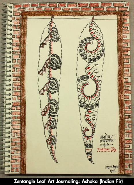 zentangle leaf art journaling nature
