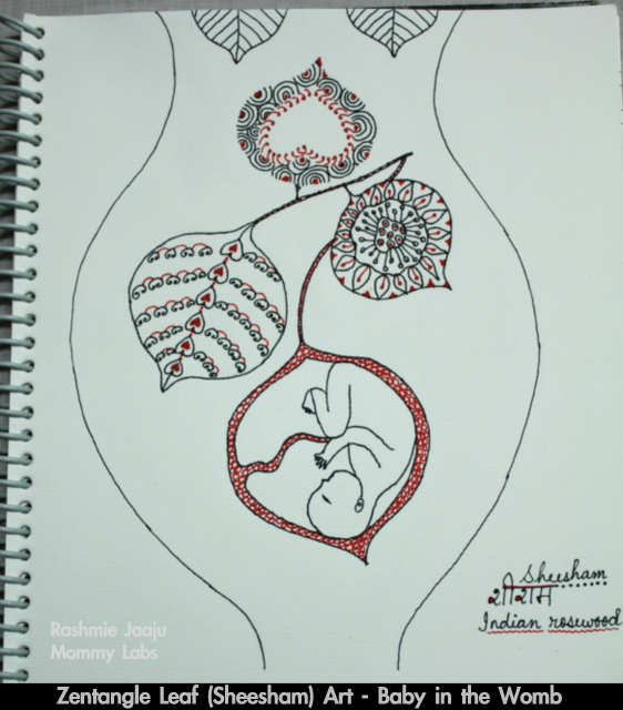 zentangle art journaling womb baby