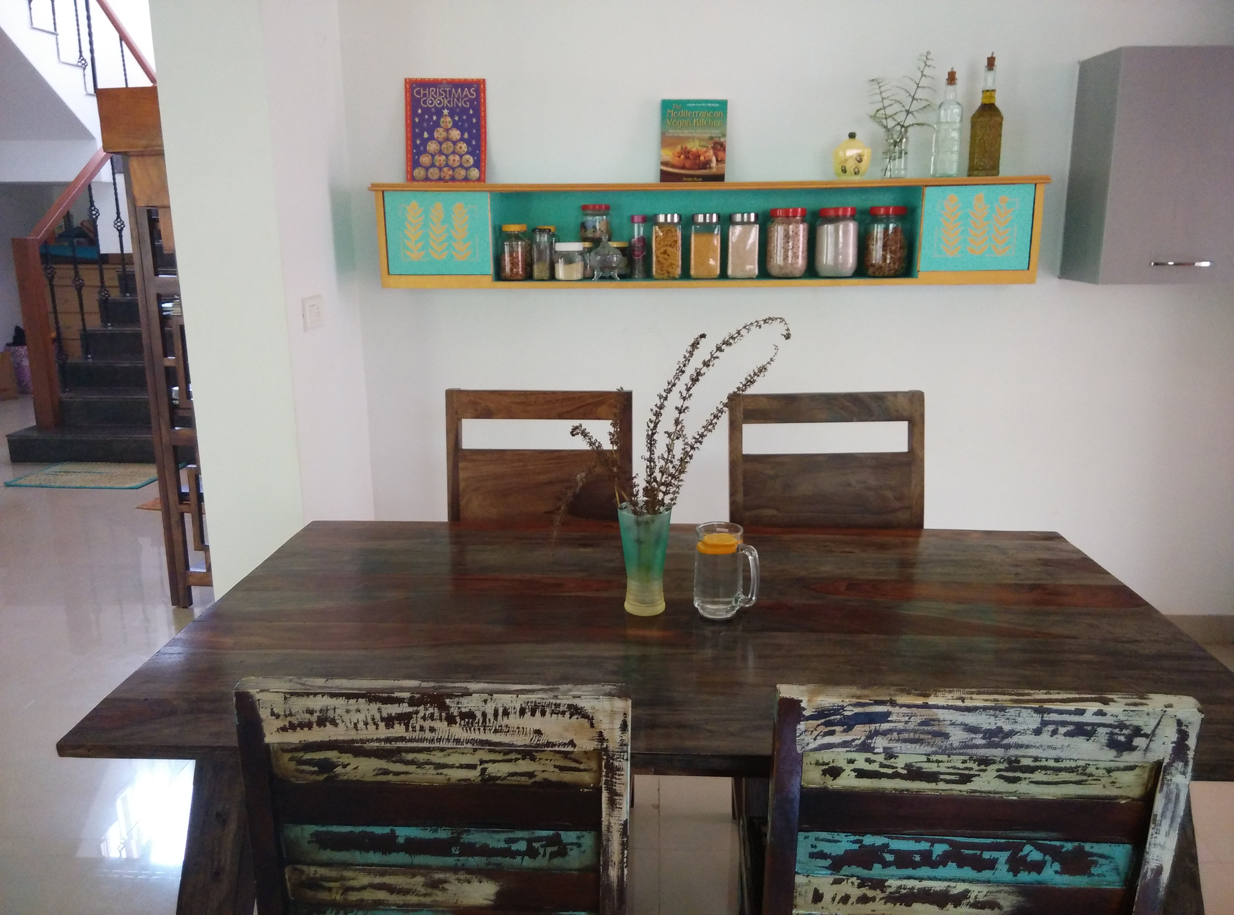 upcycled headboard wall shelf in turquoise and gold