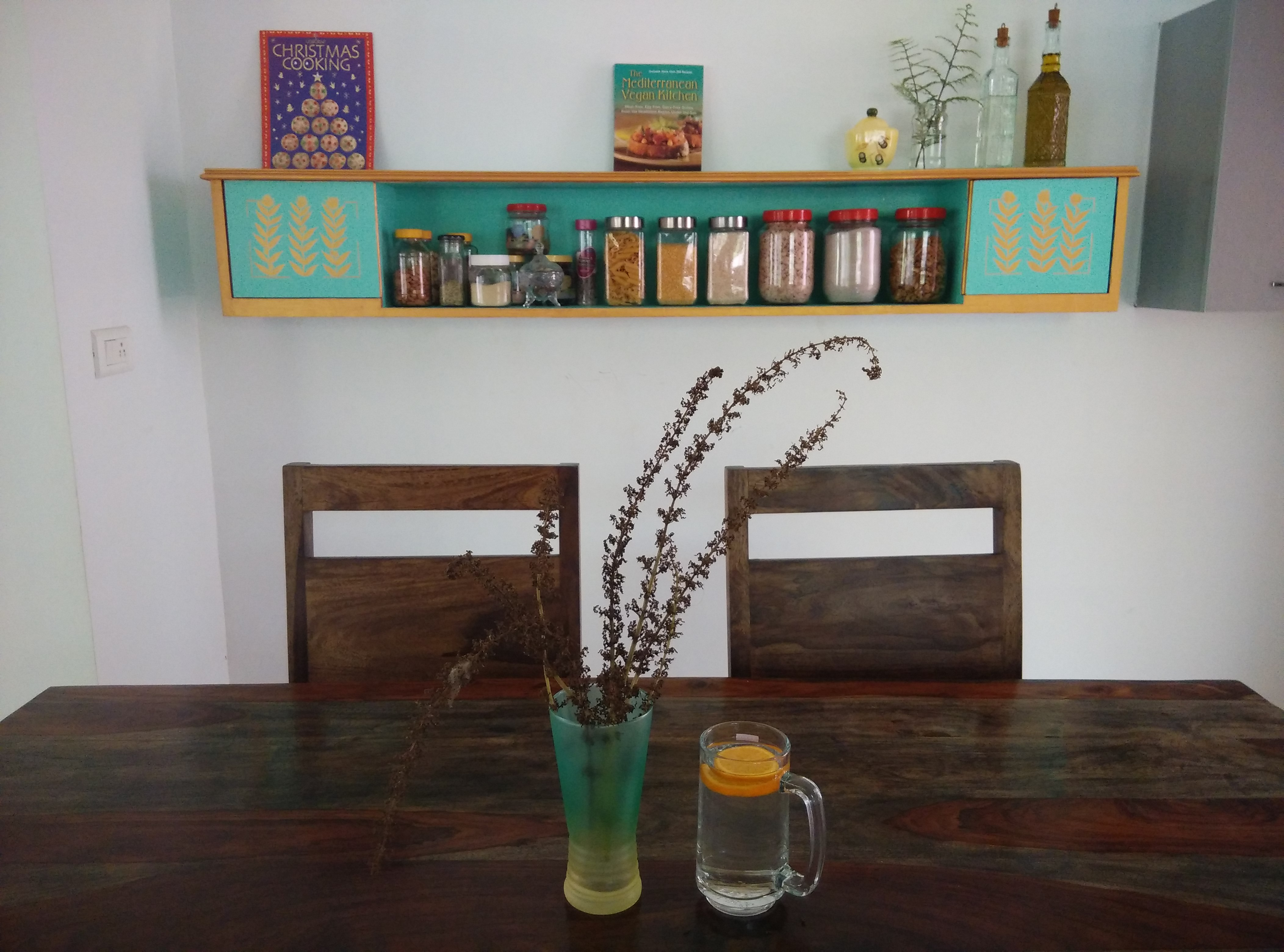 upcycle headboard into kitchen wall cabinet