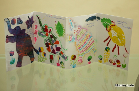 A Handmade Accordion Book With Five Artsy Elephants