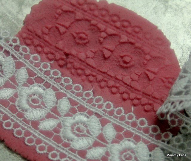 lace patterns on playdough to make valentines gifts and decor