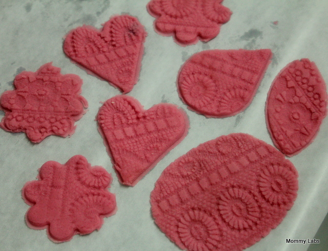 homemade pink and aromatic salt dough hearts for valentines