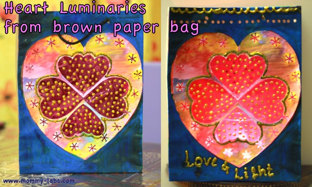 DIY paper bag luminary for valentine's day
