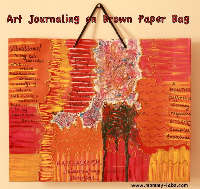 art journaling on brown paper bag
