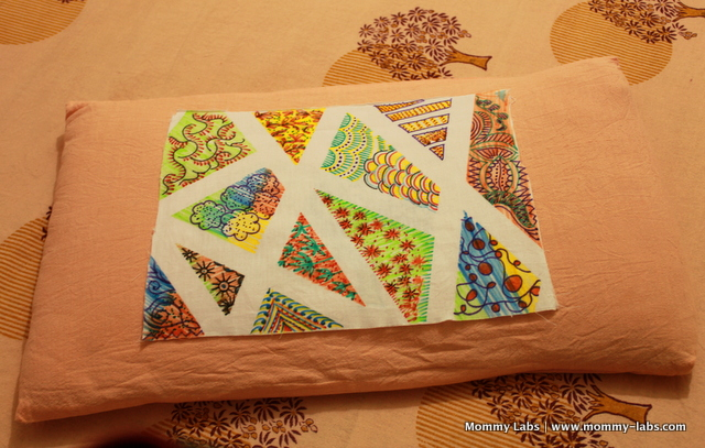 upcycle an old bedsheet or pillow cover with fabric tape resist art