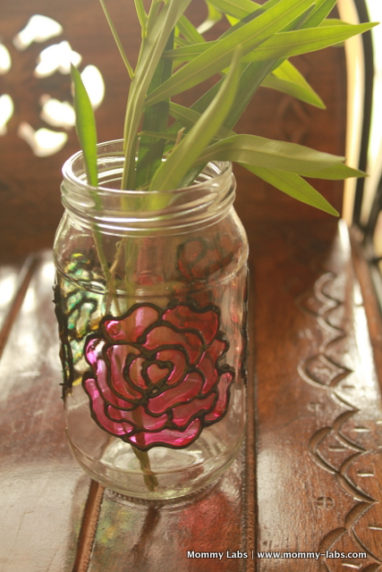 jar painted with glass colours and turned into flower vase