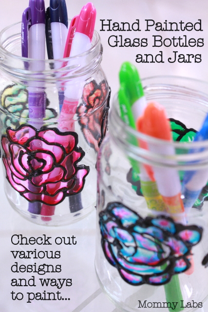 hand painted glass bottles and jars art DIY ideas for kids