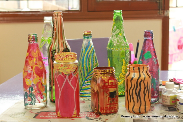 Hand painted glass bottles and jars different ways to paint for How to paint bottles with acrylic