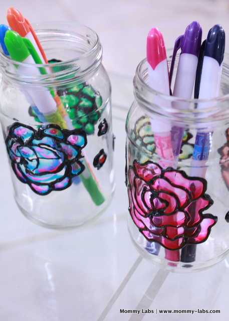 hand painted jars with glass colours