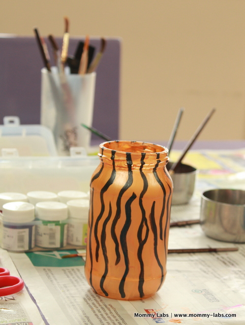 india independence day theme art glass bottle painting tiger stripes