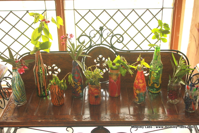 painted glass bottles gardening vases