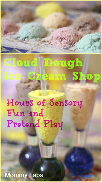 cloud dough ice cream shop sensory pretend play Mommy Labs