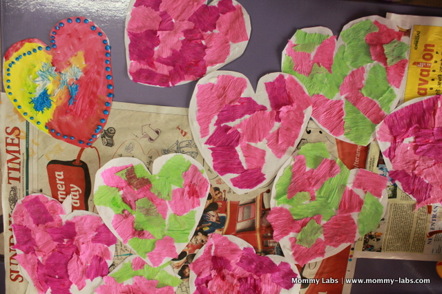 tissue crepe paper collage heart kids art