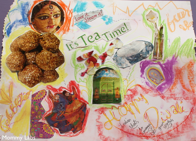 Durga Puja and Diwali art Collage and learning for kids