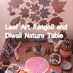 Leaf Art Rangoli or Mandala for Our Diwali Nature Table