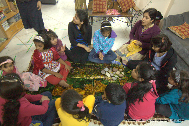 story stones for fun storytelling with group of kids Mommy Labs