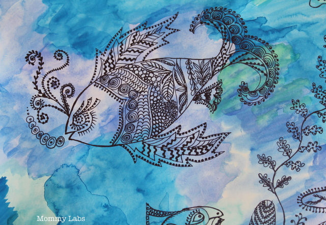 zentangle art plus water color