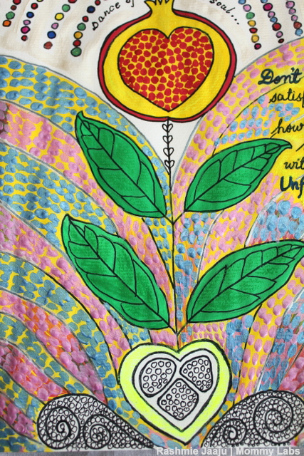 Leaf Art Journaling Pomegranate