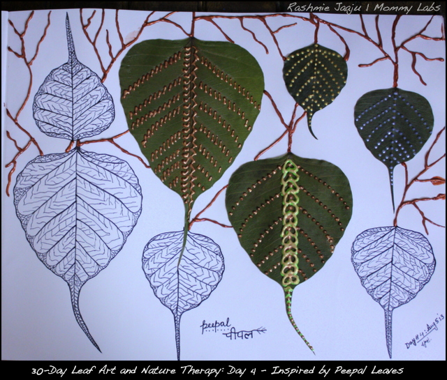 Leaf Art and Nature therapy for spiritual pregnancy_peepal leaves_India