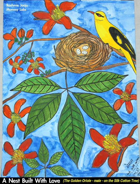 Nature Leaf Journaling Silk Cotton Tree Golden Oriole Bird Watercolor