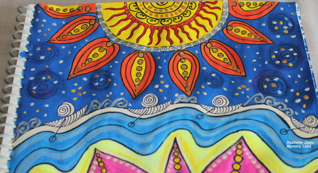 Sun zentangle watercolor artwork