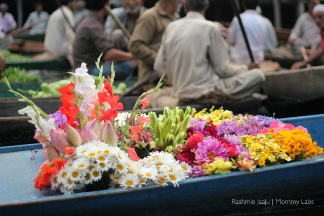 flower vendor on shikara Dal Lake