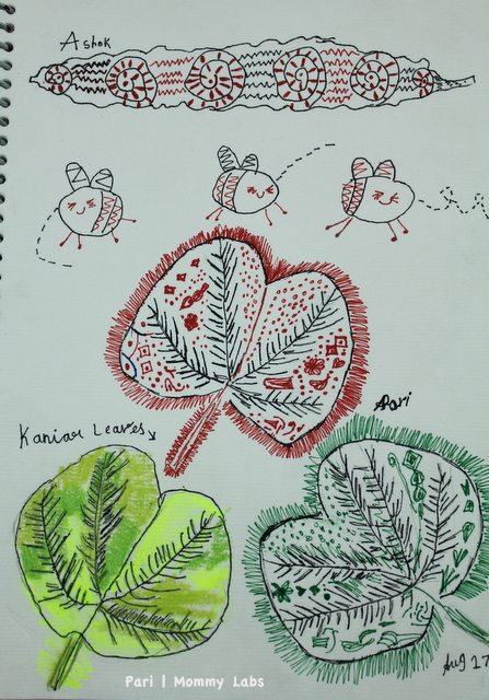 kid art leaf journaling natue