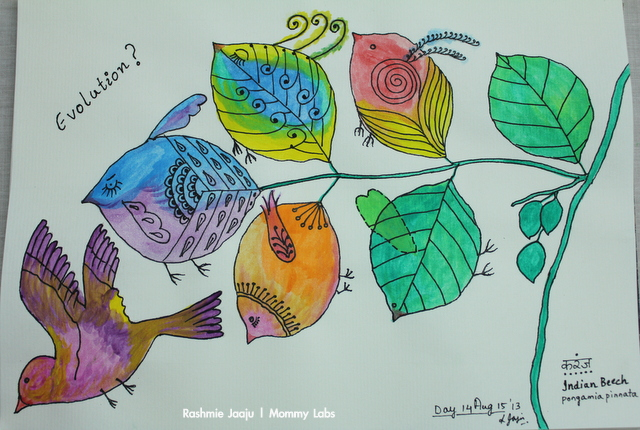 leaf art water color birds journaling