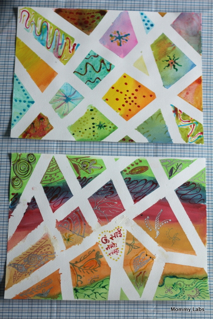 tape resist art with water colours and glass colours